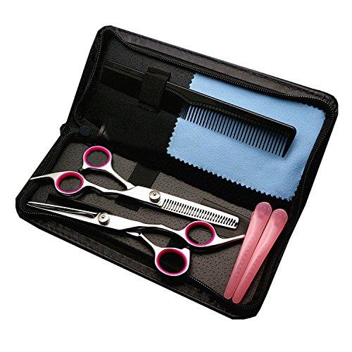 散髪 すきバサミ Pink&Blue2色選択可能 ヘアカット カットハサミ すきばさみ はさみセット 理髪 散髪 プロ 初心者 美容師 理容師 適応 ケース付き 持ち歩きやすい クリップピン付き (ピンク)