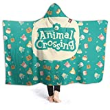 Wearable Animal-Crossing Play Blanket Hoodie Flannel Hooded Plush Blanket Cozy Cape with Hood for Adults Kids50 X40