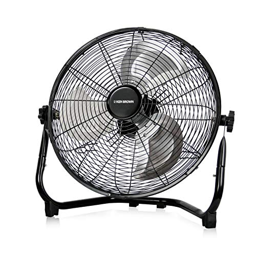 KEN BROWN 14 Inch High Velocity Floor Fan 3-Speed 360° Adjustable Tilting Powerful Airflow for Home,Residential Use, Black
