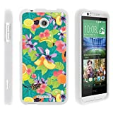 Compatible with HTC Desire 510 Case Rubberized Snap On Shell Full Cover Case Slim Fitted White Cover from TurtleArmor - Peaches Fruits
