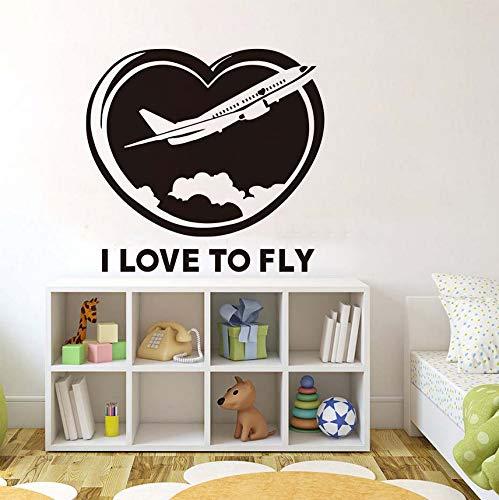 Wuyii Vliegtuig-muursticker, met de tekst 'Der Ich Liebebe', muur-kunst-citaat-vinylstickers voor vliegtuig-droger-kinderkamer-decoratie bij vliegen