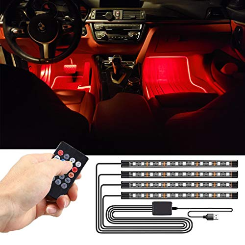 SEAMETAL LED Innenbeleuchtung Auto,4pcs 48LED Auto LED Strip, Upgrade USB Ambientebeleuchtung Auto Streifen 5V (Remote Control)