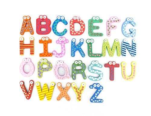 Bonamart Magnetic Letters Fridge ABC Alphabet Magnets for Toddlers Baby, Wooden Refrigerator Large Magnet Letter Learning Games Wood Toys for Kindergarten Age - 2018 Aug Upgraded