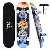 Colmanda Skateboard Adulto Completo 31 Pulgadas, Skateboard Pro 7 Capas Arce Canadiense con rodamientos ABEC-7, Longboard Monopatín, Skateboard para Principiantes, Adolescentes, Adultos (Planeta-A)