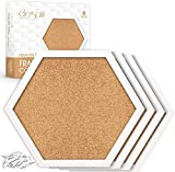 Cork Boards Hexagon Diamond Shape 4 Pack White Framed Bulletin Board Modern Decorative Corkboards for Walls (Hardware and Template Included)