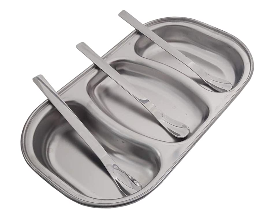 Stainless Steel 8.6inches 3sections Divided Sauce Dish Relish Tray Condiment Server with Spoons