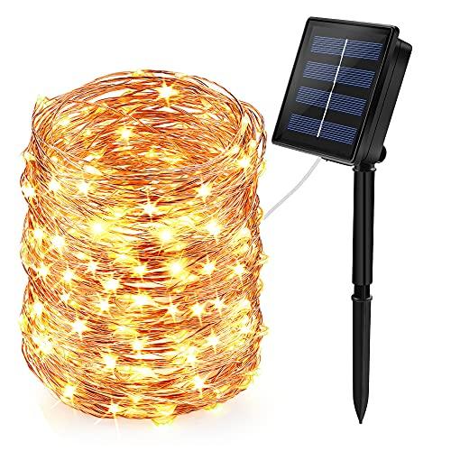 infinitoo Luci Solari Esterno Catena Luminosa, 24M 240 LED Stringa Luci Solari IP65 Impermeabili e 8 Modalità, Catena Luci di Esterno e Interno per Giardino, Festa, Natale, Patio