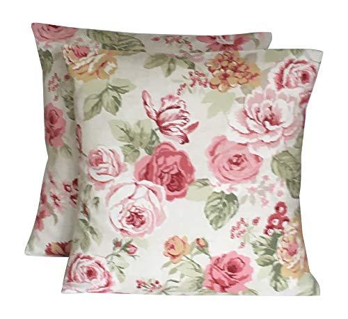 CUSHIONS2U 2 x 16 (40cm x 40cm) Sage Green Pink Cream Beige Vintage Style Floral Cushion Covers