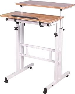 Soges 角度&高さ調節可能 昇降式サイドテーブル 可移動デスク キャスター付き サイドテーブルキノートパソコンスタンド 折りたたみテーブル 立ち 机