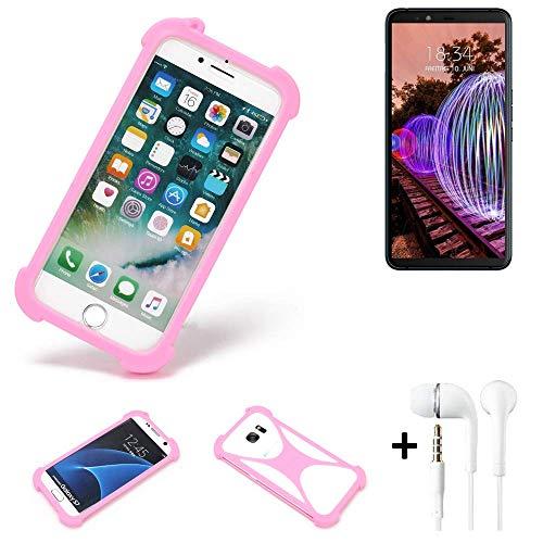 K-S-Trade® Bumper + Kopfhörer Für JVC J20 Handyhülle Schutzhülle Silikon Schutz Hülle Cover Case Silikoncase Silikonbumper TPU Softcase Smartphone, Pink (1x)