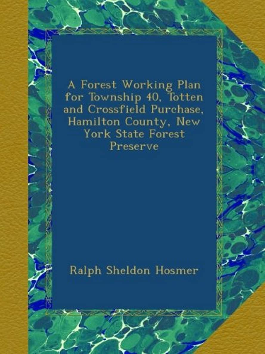 必要ないワイプ既婚A Forest Working Plan for Township 40, Totten and Crossfield Purchase, Hamilton County, New York State Forest Preserve