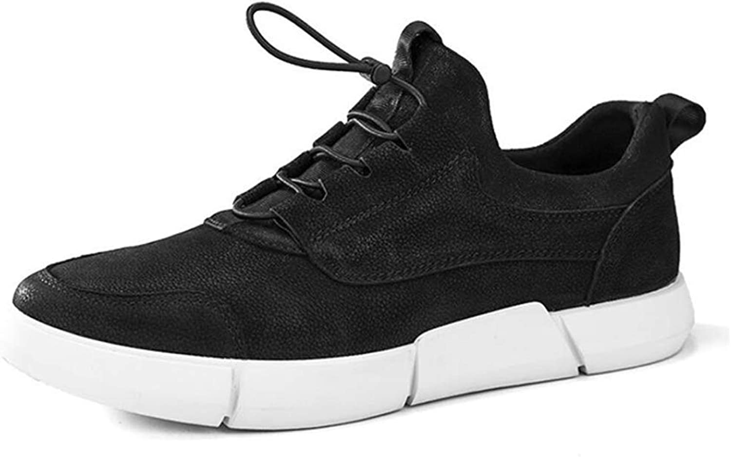 Fuxitoggo Leather Sneakers Outdoor Leisure Fashion Versatile Shock Absorption Breathable (color   Black, Size   44)