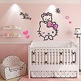EKEA-Home Creative KT Cat Hello Kitty Wall Sticker Acrylic Children Room 3D Cartoon Adornment Bedroom Nursery Wall Mural Decals Kt,100x88cm/39.4'x34.67'