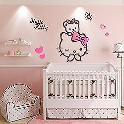 EKEA-Home Creative KT Cat Hello Kitty Wall Sticker Acrylic Children Room 3D Cartoon Adornment Bedroom Nursery Wall Mural Decals Kt,140x123.3cm/55.16x48.58