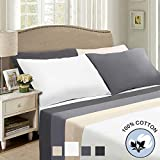 Fraylon 600 Thread Count Cotton Sheets Sets 4-Pieces Queen Size Bed Sheets Set - Fade Resistant, Hypoallergenic, 14 inch Deep Pocket Bedding Set (Queen, White)