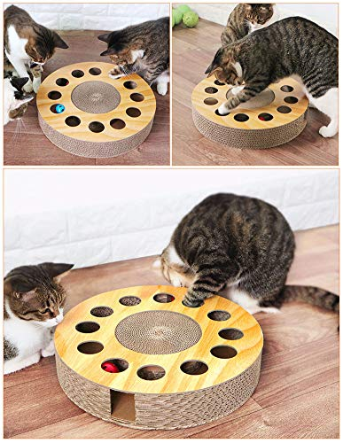 Cat Toy with Sturdy Scratching Pads and 2 Jingly Balls for All Ages of Cats