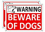 i-CowFun Beware of Dog Signs for Fence, 2 Pack Dogs Warning Metal Sign for Yard Gate Door Lawn House, 10 x 7 inches Outdoor Aluminum Dog Sign, Rust Free No Fade Weatherproof