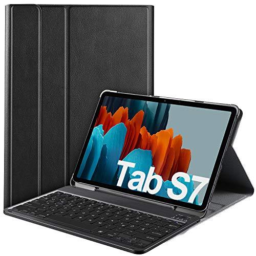 IVSO Samsung Galaxy Tab S7 Tastatur Hülle, [QWERTZ Deutsches], Schutzhülle mit magnetisch abnehmbar Wireless Tastatur für Samsung Galaxy Tab S7 (SM-T870/875) 11 Zoll 2020, Schwarz