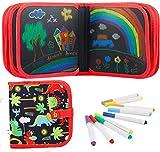 Felly Juegos de Pintura para Niños, Tabla de Dibujo Portátil Graffiti Libros Blandos de Pizarra Juguetes para Educación Preescolar Bebés Niña 2 -10 Años, Doodle Juego Infantil, 14 Páginas (Azul)