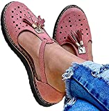WYCcaseA 2021 Sandalias de Plataforma para Mujer, Sandalias con Flecos Huecas Transpirables Sandalias de Gamuza Cerradas de Verano, Zapatos de Playa Casuales,Rosado,35