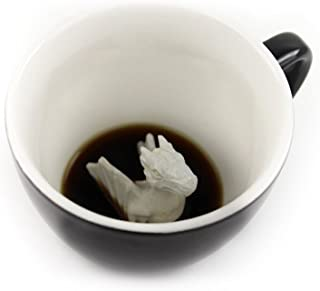 CREATURE CUPS Dragon Ceramic Cup (11 Ounce, Black)   Hidden Animal Inside   Holiday and Birthday Gift for Coffee & Tea Lovers