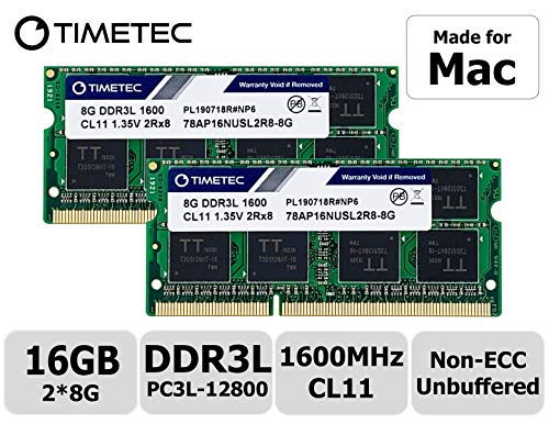 Timetec Hynix IC 16GB Kit (2x8GB) DDR31600MHz PC3-12800 SODIMM Memory Upgrade For Mac (16GB Kit (2x8GB))