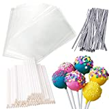 6 inches Cake Pop Sticks, Cake pop bags with Ties, Total 360Pcs Cake Pop Kits for Cakepops Supplies and Decorations (Silver)