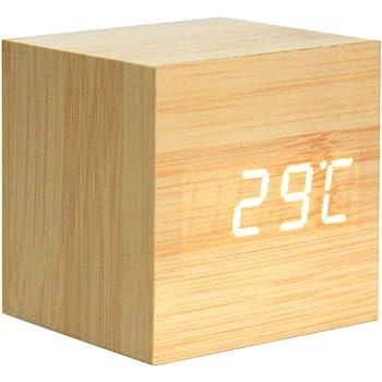 kwmobile Réveil Bois LED Horloge Digitale Aspect Bois