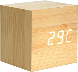 Lancoon Réveil en Bois - Mini Horloge Numérique avec Affichage De L'Heure De La Température, Luminosité à 3 Niveaux Et Com...