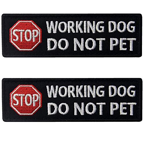 Service Dog Working Do Not Pet Tactical Military Morale Badge Emblem Embroidered Patches Appliques with Fastener Hook and Loop Backing for Vests/Harnesses 3.93 x 1.18 Inch Bubble of 2PCS