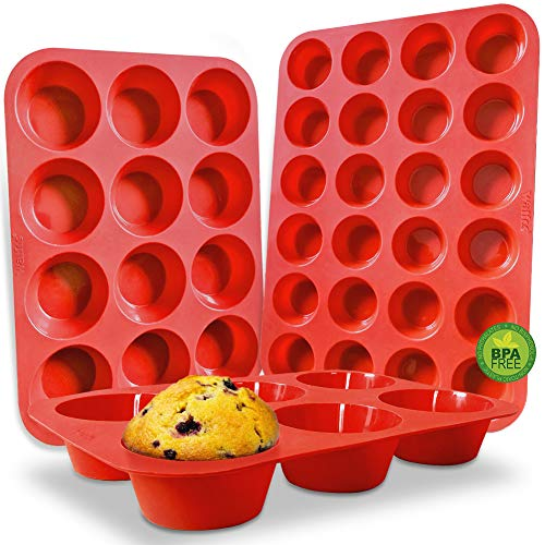 WALFOS BPA Free Silicone Muffin Pan - Cupcake Pans set of 3, Including Mini 24 Cups, Regular 12 Cups Muffin Pan & Texas Size 6 cups Muffin Pan,