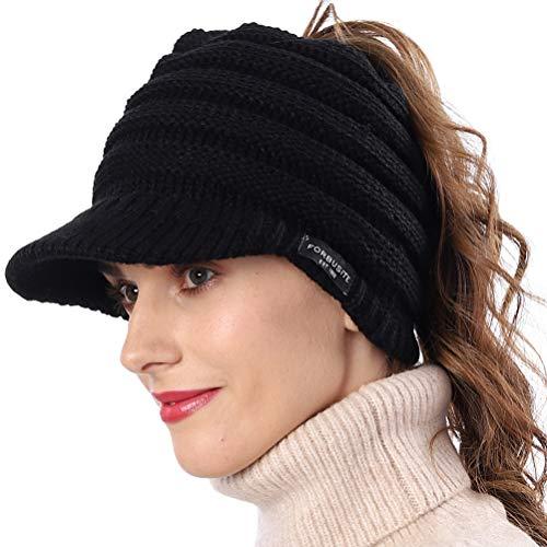 FORBUSITE Damen Wintermütze Beanie Schirm mit Loch für Haare Ausgekleidet Fleece Viosr Beanie (Schwarz)