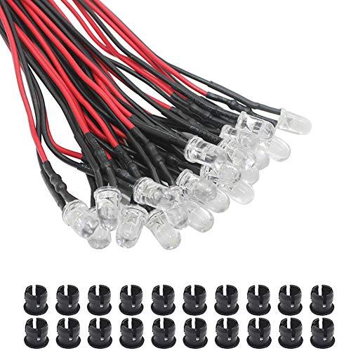 KeeYees 20Pcs 5mm Leds mit 20cm Kabel DC 12V Led Fertig Verkabelt (weiß) + 20Pcs 5mm LED Montageringe Plastik