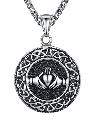 Men's Stainless Steel Celtic Knot Claddagh Friendship Endless Love Pendant Necklace, 24', aap121