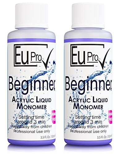 2x Acrylic Nail Liquid Monomer Beginner, Slow Setting For 100ml bottle salon nails system