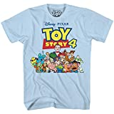 Disney Pixar Toy Story 4 Team Toy Poster Woody Buzz Bo Peep Movie Disneyland World Tee Funny Humor Men's Graphic T-Shirt (Light Blue, Large)