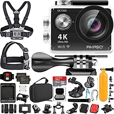 AKASO EK7000 4K Video WiFi Action Camera Ultra HD Waterproof DV Camcorder 12MP 170 Degree Wide Angle LCD with Wireless Remote Custom Case Memory Card Sports Camera Starter Kit from Akaso