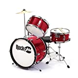 RockJam 3-Piece Junior Drum Set with Crash Cymbal, Drumsticks, Adjustable Throne and Accessories, Metalic Red, inch (RJ103-MR)