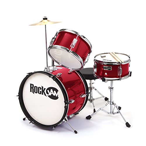 RockJam 3-teiliges Junior Drum Set mit Crash Cymbal, Drumsticks, Verstellbarer Thron und Zubehör - Red