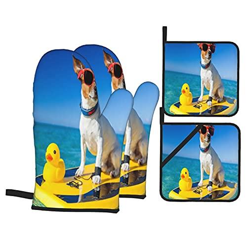 Perro surfeando en una Tabla de Surf con Gafas de Sol con un Pato de Goma de plá,Juegos de Manoplas para Horno y Porta Ollas,4Pcs Impermeable Guantes Almohadillas para Cocina Cocinar Hornear Barbacoa