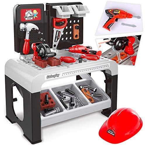 Kinderplay Banco Herramientas Juguetes Y Casco Tool& Brains, Taller Mecanico Juguete, Juego de Imitación Actividad Infantil Conjunto Banco de Trabajo KP3779