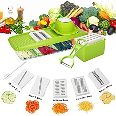 9 in 1 Mandoline Slicer Vegetable Slicer Chopper Fruit Cutter Cheese Grater Potato Onion Slicer with 5 Adjustable Interchangeable Blades/ Peeler/ Brush/ Hand Protector/ Storage Container