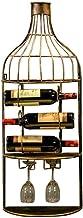 HTTJJ Wine Rack On Wall Mounted Wine Bottle Holder/Hanging Wine Holder for Wine Bottles and Stem Glasses - Elegant Wood St...