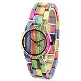 Bewell Women's Fashion Colored Bamboo Wooden Watch Quartz Handmade Bracelet Wristwatch