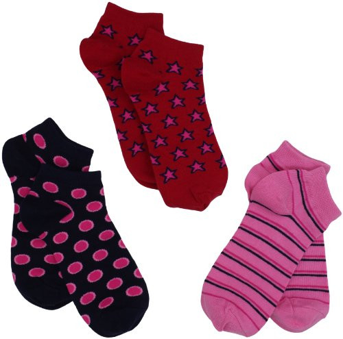 Jefferies Socks Little Girls Socken für kleine Mädchen, gepunktet, gestreift, Sterne, 3 Stück - - Large