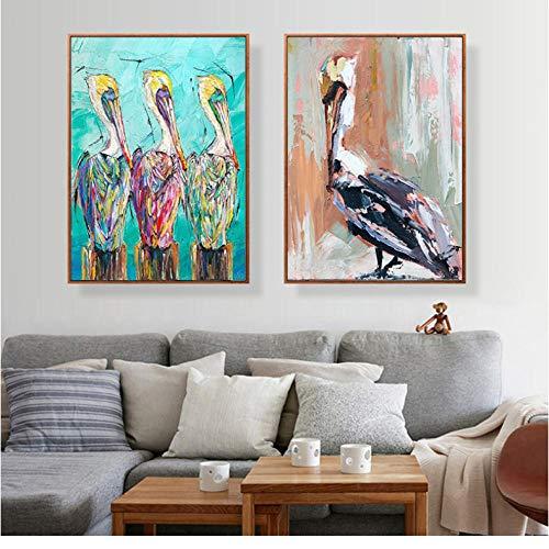 Abstract Pelikanen Canvas Schilderij Vogel Dieren Olie Muur Schilderij Posters Muurkunst Prints voor Woonkamer 50x70cmx2 ongekaderde