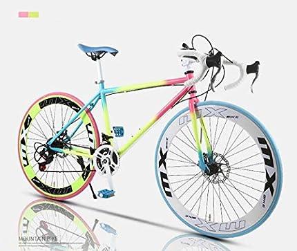 Camino de la bicicleta, de 24 velocidades de 26 pulgadas, bicicletas de doble disco de freno, marco de acero al carbono de alta, camino de la bicicleta de carreras, hombres y mujeres adultos de,B