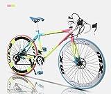 ZTYD Vélo de Route, 24x 26 Pouces Vélos, Double Disque de Frein, Cadre en Acier au Carbone à Haute, Route de vélos de Course, et Les Femmes Adultes Hommes,B