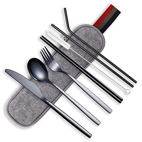 HOMQUEN Portable Utensils,Travel Camping Flatware Set,Stainless Steel Silverware Set,Include Knive/Fork/Spoon/Chopsticks/Straws/Brush/Portable Case(Black-8 Piece)