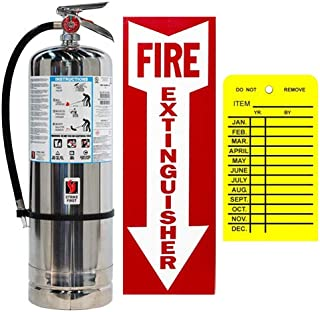 2.5 Gallon Water Pressure Fire Extinguisher Strike First with Wall Bracket, Inspection Tag and Sign